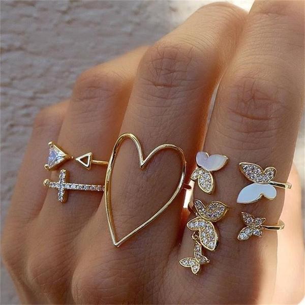 butterfly, bohemianring, gold, Heart