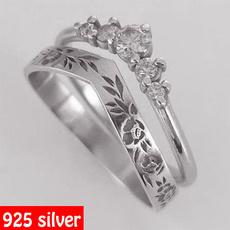 Sterling, Engagement Wedding Ring Set, Rose, Simple