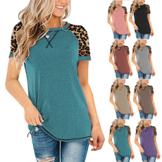 Summer, Fashion, Women's Casual Tops, leopard print