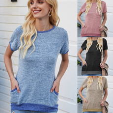 Summer, Fashion, Women's Casual Tops, short sleeves