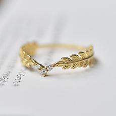 weddingengagementring, stackablering, leaf, Jewelry