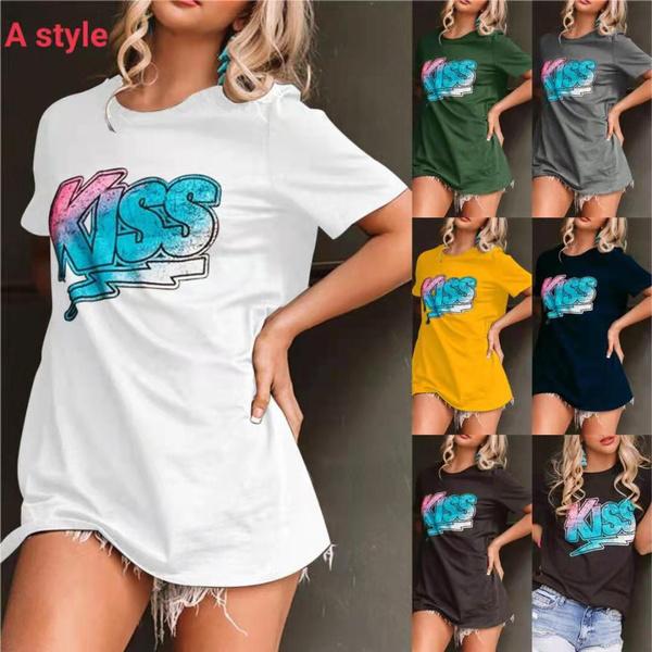 shirtsforwomen, Summer, Plus Size, letter print