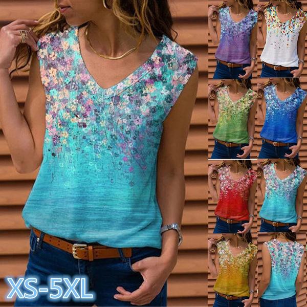 Summer, Plus Size, Shirt, V-neck