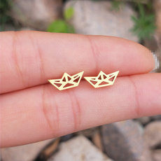 Stud Earring, theme, gold, for