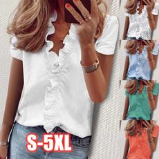 Plus Size, ruffle, blouseshortsleeve, casualblouseshirt