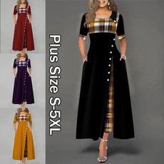 Plus Size, short sleeve dress, Plaid Dress, Sleeve