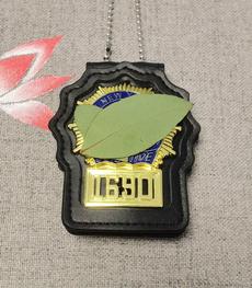 policebadge, leather, badge, Metal