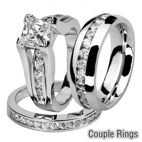 Steel, weddingringset, Stainless Steel, 925 sterling silver