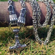 viking, Head, necklaces for men, hammernecklace