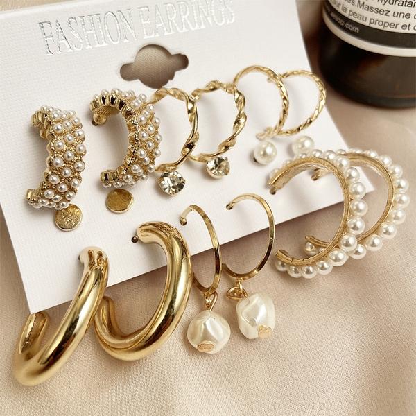 simpleearring, Pearl Earrings, Stud Earring, Crystal
