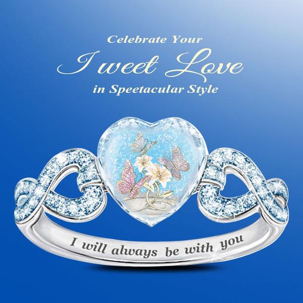 Sterling, Heart, weddingengagementring, crystal ring