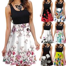 Summer, slim, Necks, slim dress