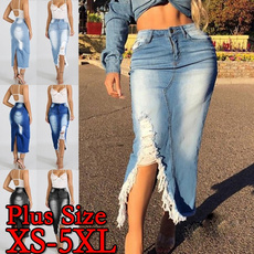 Blues, Fashion Skirts, Plus Size, womenhighwaistskirt