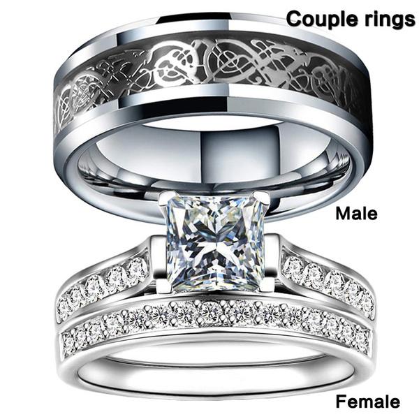 Sterling, ringsformen, Engagement Wedding Ring Set, Bridal