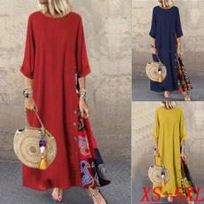 Splicing, Dress, Plus Size, sleeve dress
