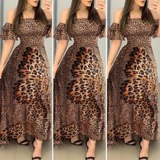 Strapless Dress, short sleeve dress, leopard print, Evening Dress