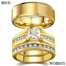 Couple Rings, 316stainlesssteelring, wedding ring, gold