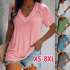 blouse, Summer, Deep V-Neck, Shirt