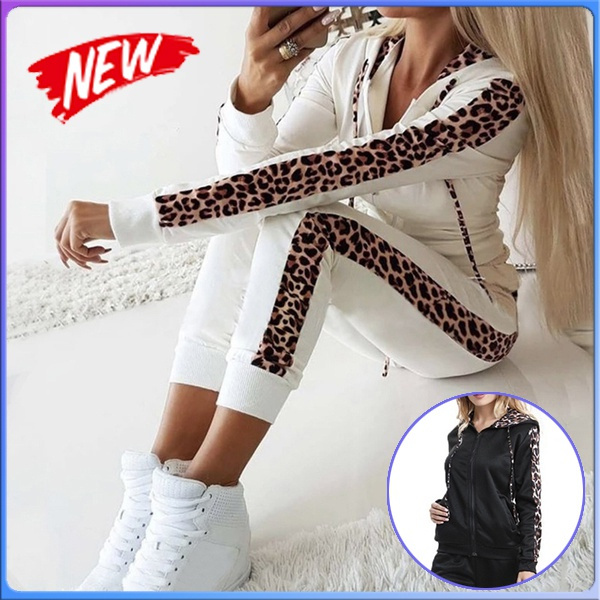conjuntosde2piezasparamujer, tracksuit for women, pants, leopard print