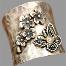 butterfly, Sterling, butterflyring, Flowers