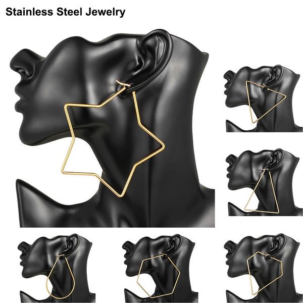 bigearringsforwomen, Stainless Steel, Triangles, gold