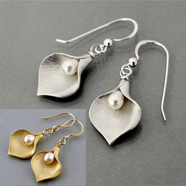 Sterling, Flowers, Jewelry, Pearl Earrings