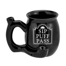 tea cup, smokingpipe, Mug, black