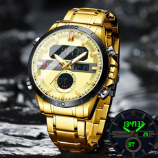 Chronograph, hardlexwatch, led, gold