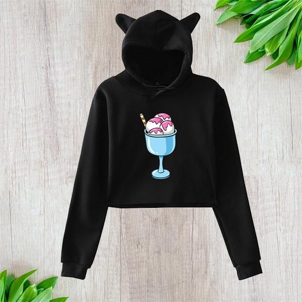 Fashion, crop top, Sweatshirts, Ice Cream