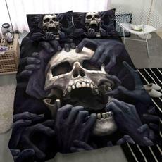 Polyester, darkskullbeddingset, skullhandtouchingquiltbedset, halloweengift
