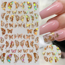 butterfly, golden, nail stickers, Holographic