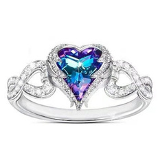 Heart, crystal ring, wedding ring, 925 silver rings