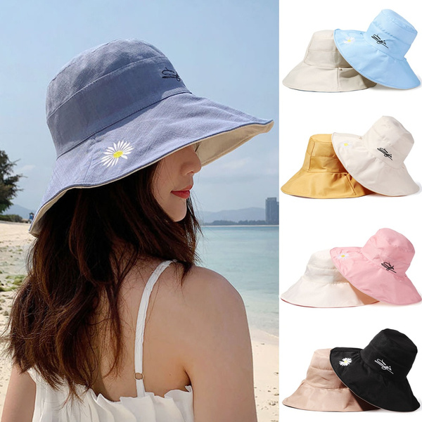 Summer, doublesidedbuckethat, Adjustable, daisiesfishermancap