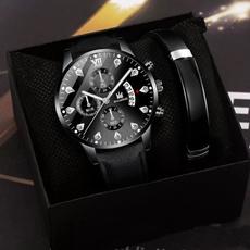 chronographwatch, leatherstrapwatch, business watch, watchbraceletset