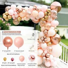 pink, White Gold, Garland, Balloon