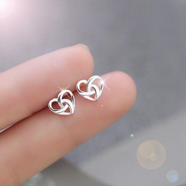 Heart, Silver Earrings, Flowers, Jewelry