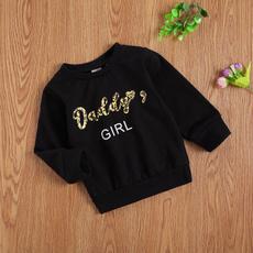Fashion, breathablewordprintclothe, Long Sleeve, toddlerfemalepullover