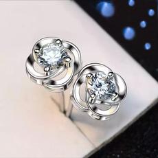 Sterling, DIAMOND, Gemstone Earrings, spaklingearring