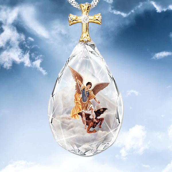 crystal pendant, Cross necklace, gold, Glass