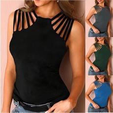 Vest, summer t-shirts, sleevelessvest, solidcolorvest