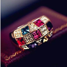 crystal ring, gold, Classics, Fashion Accessories