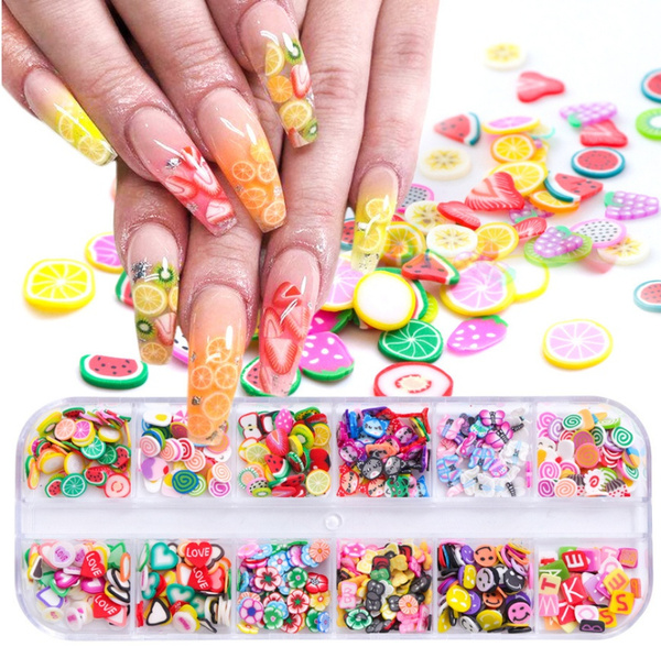 polymer, nail stickers, Flowers, nail tips