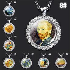 artoilpaintingpendant, vangoghjewelry, Glass, crystalzirconnecklace