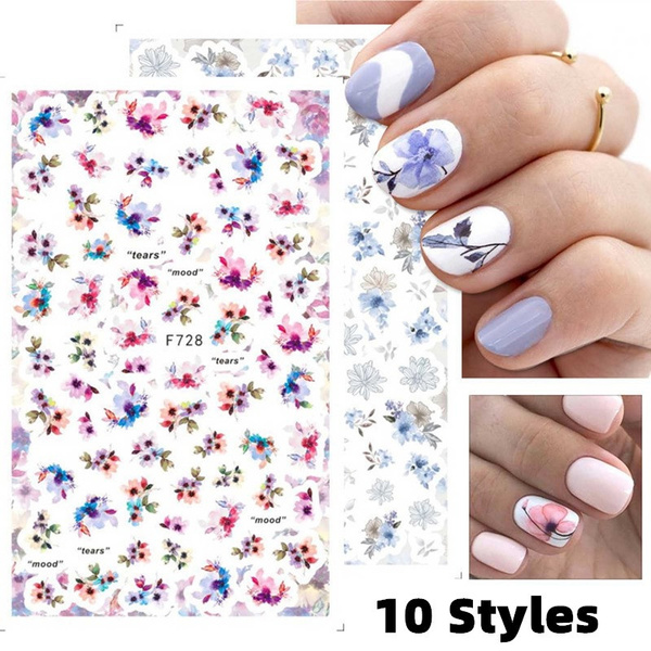nail decoration, Summer, nail decals, Flowers