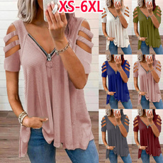 Summer, Plus Size, Deep V-Neck, Plus size top