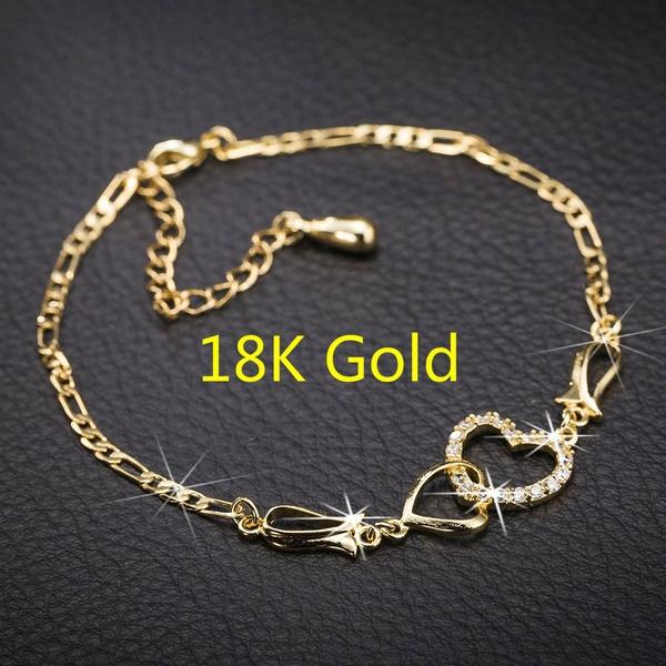 Crystal Bracelet, 18k gold, Chain, gold