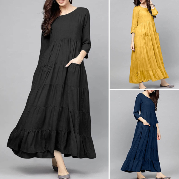 Plus Size, plaindres, pleated dress, Sleeve