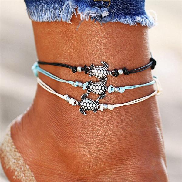 Turtle, Anklets, Chain, barefootanklet