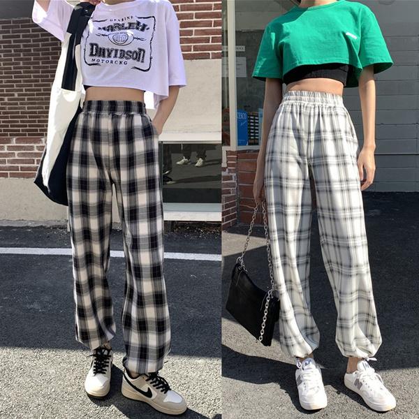 plaid, Waist, Elastic, pants