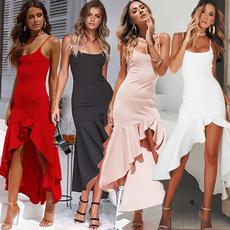Fashion, ruffled, long dress, Dress